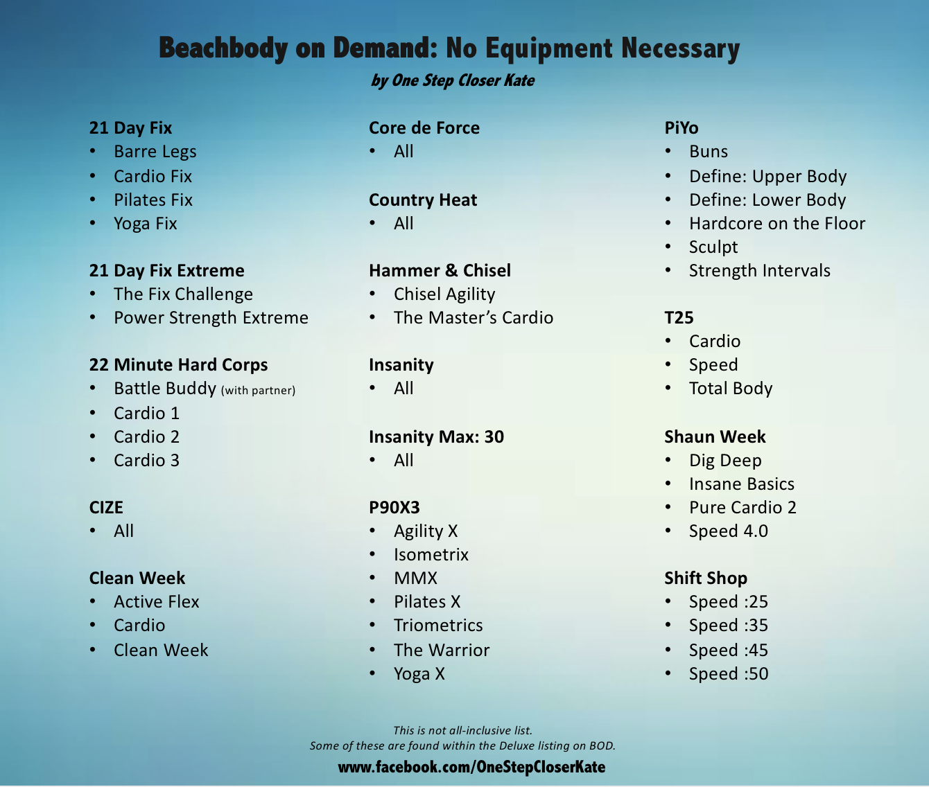 Beachbody On Demand Workouts That Require No Equipment One Step
